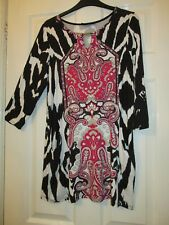 LADIES LONG BLACK/RED PAISLEY PATTERN TUNIC WITH POCKETS SIZE L (16/18) WALLIS