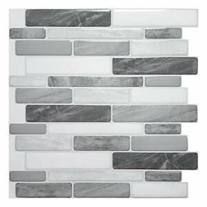 10-Sheet Self Adhesive Backsplash, 12x12in. Grey Marble Design 3D Wall Panels