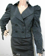 "CUE size 14 cropped double breasted "" memory fabric"" / taffeta striped JACKET"