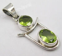 "925 Sterling Silver Unseen GREEN PERIDOT LADIES' JEWELRY Pendant 1.4"" NEW GIFT"