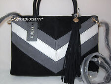 GUESS Nakieta Dizzy Suede Bag Purse Handbag Satchel Sac Tassel Black Brown Multi