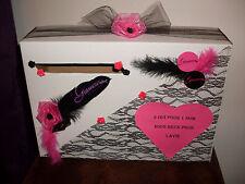 Urne boîte de mariage neuve GLAMOUR fushia noir et blanc