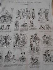 Typo Caricature 1878 - Pèle mèle de dessin l'étranger à Paris Japonais Brésilien