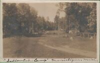 Vintage RPPC Michigan MI Postcard Indian Lake Campground State Park Manistique