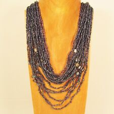"""25"""" Waterfall Hematite Color Multi Strand Shell Chip Handmade Seed Bead Necklace"""