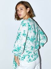 😊 ZARA FLORAL PRINT LINEN BLOUSE WRAP KIMONO TOP WITH TIE KNOT SIZE S NEW
