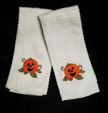 Halloween Kitchen Towels Pumpkin Jack O Lantern White Waffle Weave Set of 2