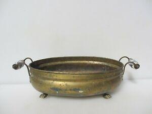"""Vintage Brass Plant Pot Tub Trough Planter Old Ceramic Handles Antique 11"""""""