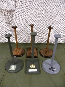 Military HELMET STAND'S German, US, Japanese WWI,WWII, Korea, VietNam and today