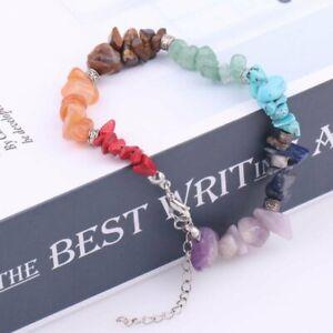 7 Chakra Stone Healing Balance gravel Bracelet Lava Yoga Reiki Prayer Jewelry