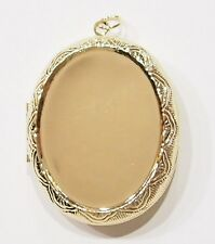 2 of 40x30 mm Gold Victorian Style Etched Pill Box or Locket Pendant Settings