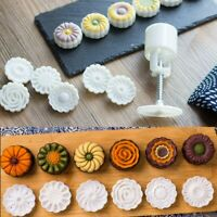 50g Mooncake Mold W/4 Flower Stamp DIY Baking Pastry Round Moon Cake Mould Tool