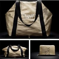 VICTORIA'S SECRET GOLD METALLIC PACKABLE TOTE WEEKEND LARGE PURSE SHOULDER BAG
