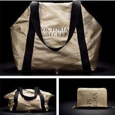 VICTORIA'S SECRET GOLD METALLIC PACKABLE TOTE WEEKEND LARGE PURSE SHOULDER BAG