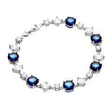 Pulsera De Plata Con Piedras De Circonia Cúbica Azul Marino Y Claro Cristales-Narda