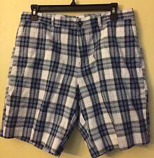 MICHAEL KORS Men's Sz 30 White Blue Plaid Cotton Linen Spring/Oxford Shorts NWT