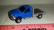 1/64 CUSTOM farm toy blue silver 2002 Ford f350 flatbed TRUCK ERTL farm toy nice