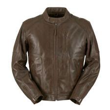 Giacche marrone in pelle bovina con imbottitura termica per motociclista