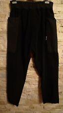DAMIR DOMA SILENT BLACK DOJO FLEECE ELASTIC WAIST BLACK PANTS, MADE IN ITALY, L