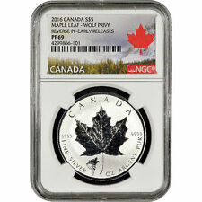 2016 Wolf Privy Canadian Silver Maple Leaf Reverse Proof Coin NGC PF69 ER