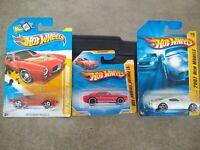 3 Hot Wheels Pontiac Firebirds: '67 Red Firebird 400, '70 White Firebird '73 Red