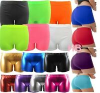 Ladies Women Neon Lycra Stretchy Metallic Shiny knicker Hot Pant Short Gym Cycle