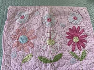VINTAGE Hand Quilted Applique Flowers QUILT Pottery Barn sham #652