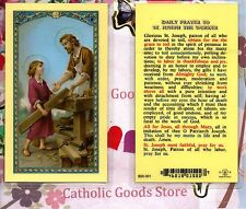 Daily Prayer to Saint St. Joseph the Worker - Laminated Holy Card