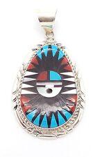 Zuni Handmade Sterling Silver Multi-stone Sun Face Inlay Pendant - LLC