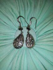"Lois Hill 925 Sterling Silver Ornate Dangle Swirl Filigree Earrings 2""×12"""