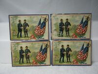 "4 Early 1900's Unsent Raphael Tuck & Sons ""Decoration Day"" Embossed Post Cards"