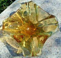 Amber Yellow Hand Blown Art Glass Bowl Ashtray Mid Century Modern Free Stretch