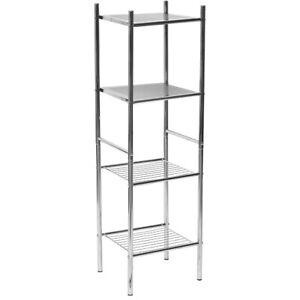 4-Tier Linen Tower Shelving Unit Storage Rack Shelf Organization Chrome