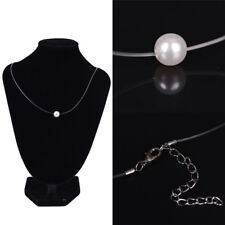 Acrylic Pearl Pendant Necklace Choke Invisible Transparent Fishing Line Chokerio