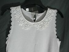 Top Shop white sleeveless top lace neck design Size 4 US Juniors NWT