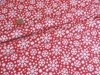 Cheap! REMNANT OffCut Fabric RED CHRISTMAS SNOWFLAKE XMAS  Patchwork Polycotton