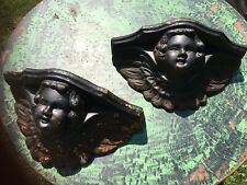Pair Of Heavy Cast Iron Gothic Cherubs Wall Planters c.1900 Estate Find Salvage