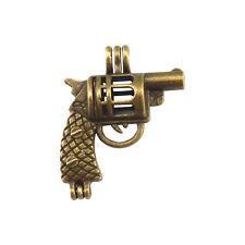 1 Piece Antiqued Bronze Color Revolver Shaped Charm Locket Pendant 29x23x10 mm