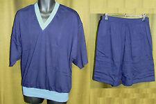 Herrenpyjama kurzer Arm Gr. 56 - dunkelblau - V-Ausschnitt