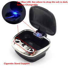 New Black Car Truck Cigarette Ashtray Stand Dashboard Holder Blue LED Detachable