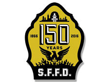 3x4 inch SFFD 150th ANNIVERSARY Logo Shaped Sticker - firefighter san francisco
