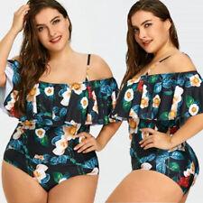 Womens Plus Size Bikini Set Swimwear Ruffle Bra Bathing Suit Swimsuit Flower