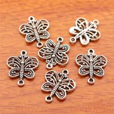 50pcs 17*14mm Charms butterfly Spacer Connector Tibetan Silver Jewelry 7084H