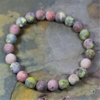8mm Natural Lepidolite Handmade Mala Bracelet Wrist Pray Healing Buddhism