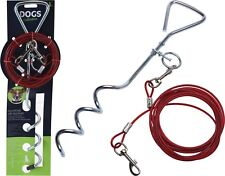 Heavy Duty 40cm Dog Tether Anchor Ground Stake with 4M Galvanised Steel Leash