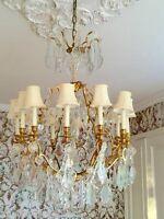 Antique Vintage French Crystal Bronze Brass Chandelier
