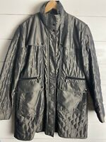 Kristen Blake Quilted Irridescent Green Lined Zip Coat Jacket Women's Large