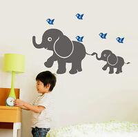 wall stickers elephant birds Art Removable Vinyl kids Nursery Decor decal