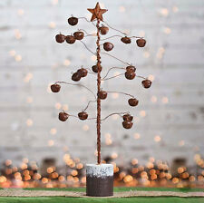 primitive country rustic metal small tree rusty star bells christmas decor nwt