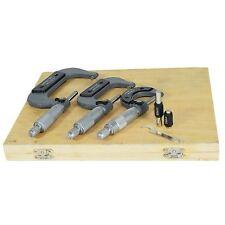 3pc Micrometer External Adjustable Metric Micrometer Carbide Anvils 0 - 75mm